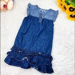 DKNY Girls Chambray Ruffle Dress | 8